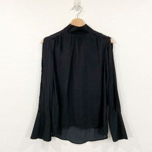 Open Long Sleeve Blouse Pearl Buttons Size XS